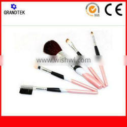 pink synthetic hair make up brushes in pouch