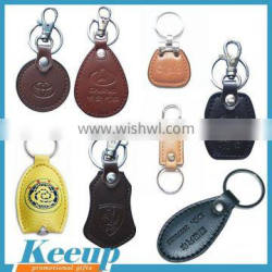 Hot new product promotional embossed pu custom leather keychain