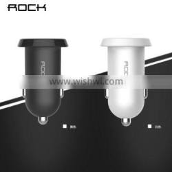 Rock Ditor series Dual USB PC Car Charger for universal mobile phone 2.4A Car Charger kit whit 1m micro noodle data cable