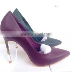 Catwalk Hot Sale Metal Heel Ponite Toe 10cm Stiletto Pumps Women Shoes in Two Colors Army Grand Wine Red