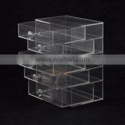clear luxury acrylic cosmetic box with drawers for promotion