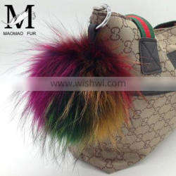 High Quality Real Raccoon Pom Pom Fur Keyring / Beautiful Promotional Gifts