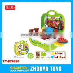 Zhorya 23PCS Wholesale kids kitchen bbq play set multi-function baby toys modern kitchen toy set kitchen play sets