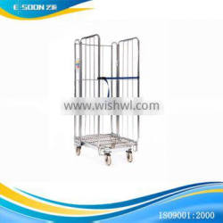 Moveable container roll cage warehouse trolley