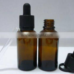 Glass Material and e liquid/essential oil bottles Industrial Use amber single round bottle with basket cap