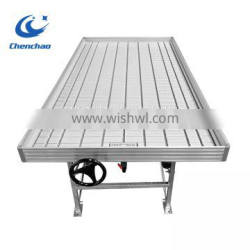 Greenhouse ebb and flow rolling bench seedling metal rolling table