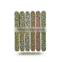 Wholesale custom bling glitter nail file leopard texture emery board cheap nail art tools factory