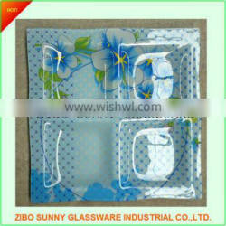 Decal glass dinner plate dish tray in square shape with section