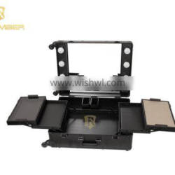 Professional Lighted Aluminum Makeup Trolley Case With Stand Director Chair With Mirror men toiletry bag