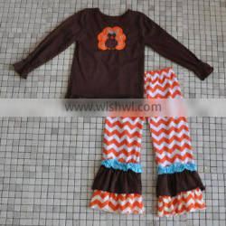 Traditional Holiday Chilren's Brown Turkey Ruffle Sets Thanksgiving Day Boutique Girls Outfits