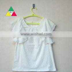 The new 2016 design promotion summer new fashion white lace short-sleeved shirt