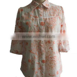 2016 Hot embroidered Floral Cotten Blouse