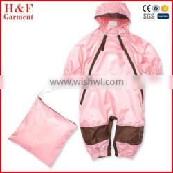 Pink children waterproof all-in-one coveralls