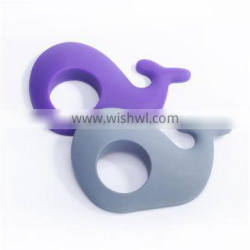 Best Selling Baby Teether! Food Grade BPA Free Popular Whale Shape Silicone Baby Teether