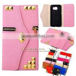 high quality zipper leather case, for samsung galaxy s6 wallet case with card slots and stand