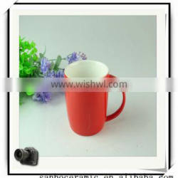 High Quality China Ceramic Red Drink Cup With Handle Wholesale