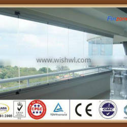 8mm thickness frameless folding window using tempered glass for home decorate