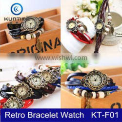 Women's Lady's Fashion Retro Leaf Bracelet Wrist Watch