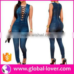 Sexy Open Front Sleeveless Skin Tight Rompers Jumpsuits Jean Women 2016