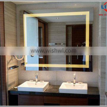5mm silver hotel led mirror with aluminum frame
