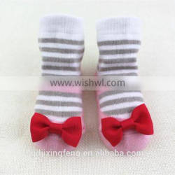 Customized fashion style stripe baby shoe socks with bowknot decorations made of cotton