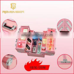 High quality aluminum cosmetic makeup suitcases aluminum makeup kit case cosmetic box leather bags for ladies