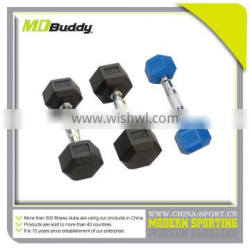 Hot sale hex olymnpic rubber coated dumbbell