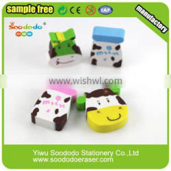 Student supply 2D Ectrusion animal cow shaped Erasers