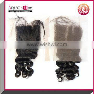 Large Order Free Shipping Natural Color Straight Middle/three/ Free Part Lace Closure Brazilian Hair Closure