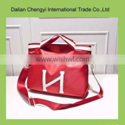 Factory price portable polyester leisure shoulder bag with two belts