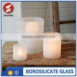 hot sale heat resistant frosted glass candle holder