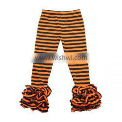 Wholesale 2016 Halloween kids clothes cotton orange black striped icng pants strip baby icing ruffle pants