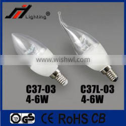 High quality indoor 4w led candle bulb C37 led candle lamp E14
