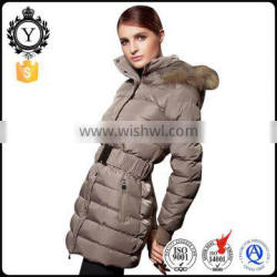 COUTUDI winter hot sell women khaki long down jacket hooded high quality fur garment
