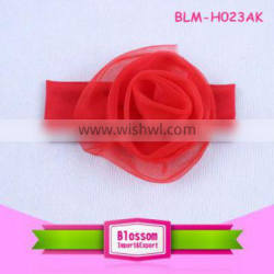 Hot sale!lovely red cotton wholesale elastic headbands for babies