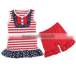 Wholesale 2016 new hot baby girls July 4th boutique red white navydots ruffle tops anf shorts set outfits