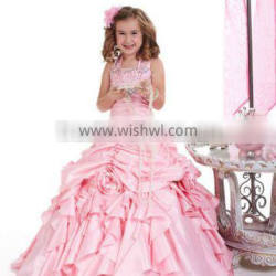 2013 free shipping halter beaded ball gown pink pageant flower girl dress CWFaf5198