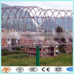 fencing protecting CBT-65 razor barbed wires