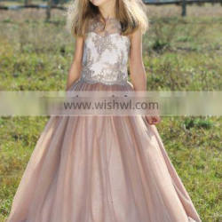 LBFG15 Champagne Flower Girl Dress Flower Patterns Lace Appliqued Dresses of Party for Girls of 12 Years for Wedding Party
