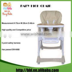 EN14988 Low Price Baby Dining Home Furniture Height Adjustable Folding High Chair