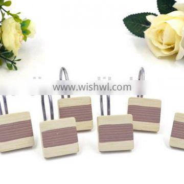 Yellow and white stripe Polyresin Shower curtain hooks