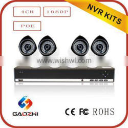 Hot sell high quality HD 2MP/1080P 4 Camera P2P POE cctv camera system