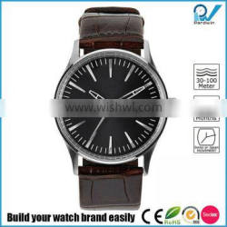 Japan movment quartz big dial stainless steel case with genuine leather strap watch