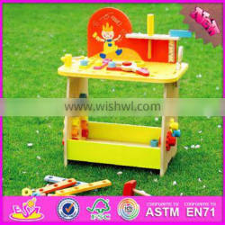 2016 new design cartoon children wooden diy workbench W03D077