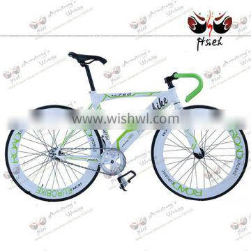 charming color! road bicycle, green sheep horn handlebar colorful fixed gear bicycle white and green
