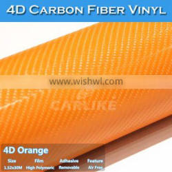 CARLIKE Orange 4D Carbon Fiber Self Adhesive Vinyl Film For Car Design