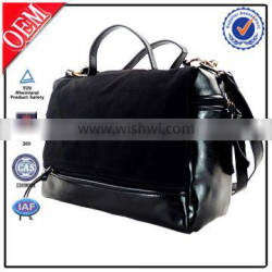 black cosmetic leather travel tote bag with fur bag