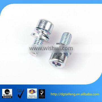 color zinc coated pan head spring and flat washer sem screw