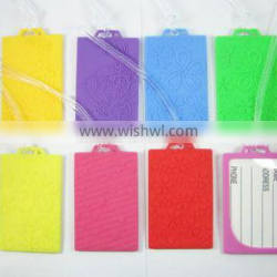 newest engraved stripe candy color soft pvc luxury luggage tags