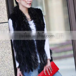 Black Color Lady Rabbit Fur Knitted Vest With Raccoon Fur Vest For Lady Winter